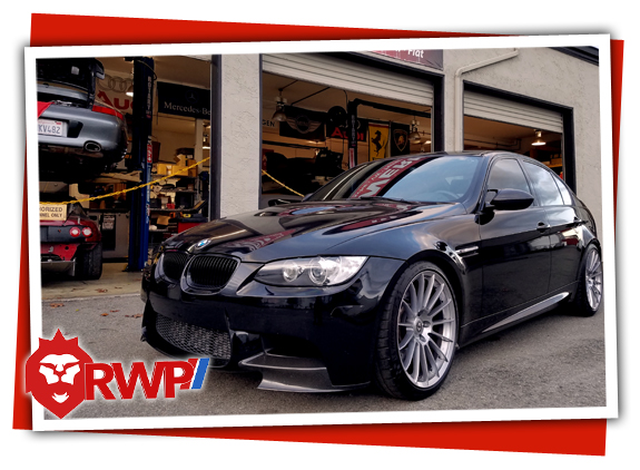 BMW E90 M3 in front of RennWerks Service Bays