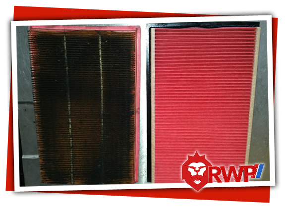 Dirty Clogged Engine Air Filter Compared to a Clean Brand New Engine Air Filter