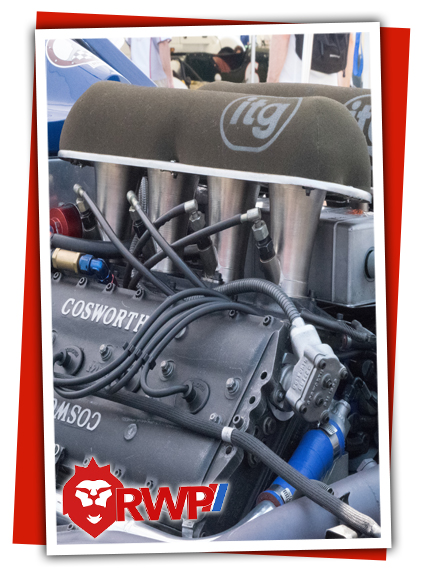Image of Indy Car with Ford Cosworth Engine and ITG Air Filter and Down Draft Carbeuration
