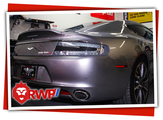 Aston Martin getting window tint and clear bra
